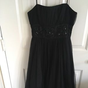 Beaded Black Spaghetti Strap Dress